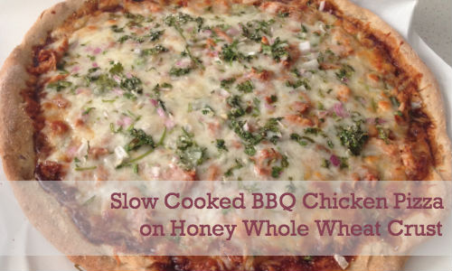 Slow cooked BBQ chicken pizza on honey whole wheat crust from the Fearless Flying Kitchen