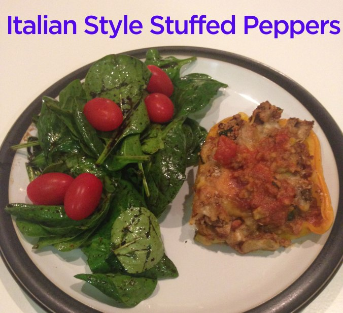 Italian Style Stuffed Peppers with a simple side salad.