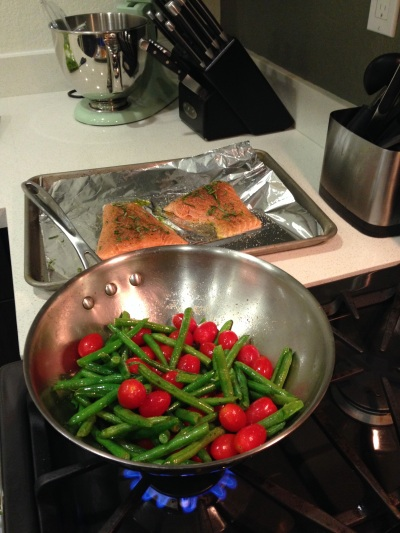 Rosemary Salmon and Balsamic Green Beans