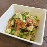 Miso Salmon Risotto With Cucumber Lychee Chutney